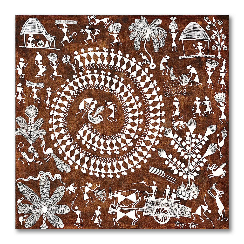 Indian Art Wall Decor Acrylic Painting Tribal Art Round Canvas Painting Warli Art on Round Canvas Home Decor Warli Painting