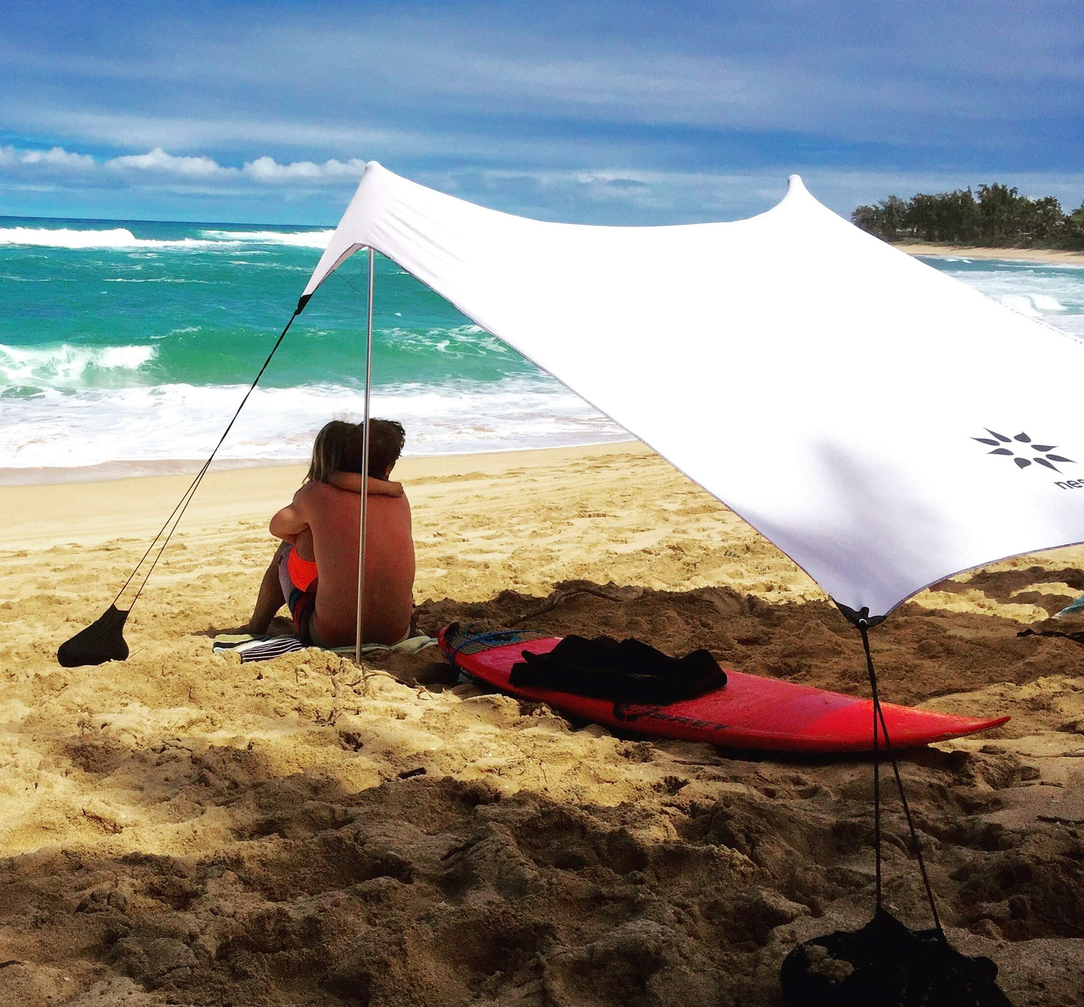 Neso Tents Beach Tent with Sand Anchor, Portable Canopy Sun Shelter, 7 x 7ft - Patented Reinforced Corners - White by Neso