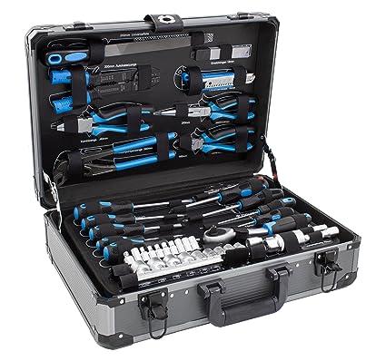Karcher maletín de herramientas - 101 piezas incluye martillo, alicates, juego de destornilladores, llave de carraca, sierra, cinta métrica y mucho ...