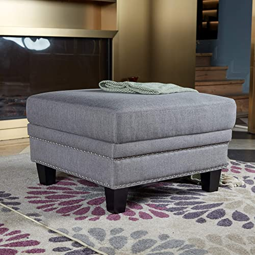 Coffee Table Ottoman Large Square with Pine Legs 26.6 x 26.6 x 18.3 Inch, Gray,