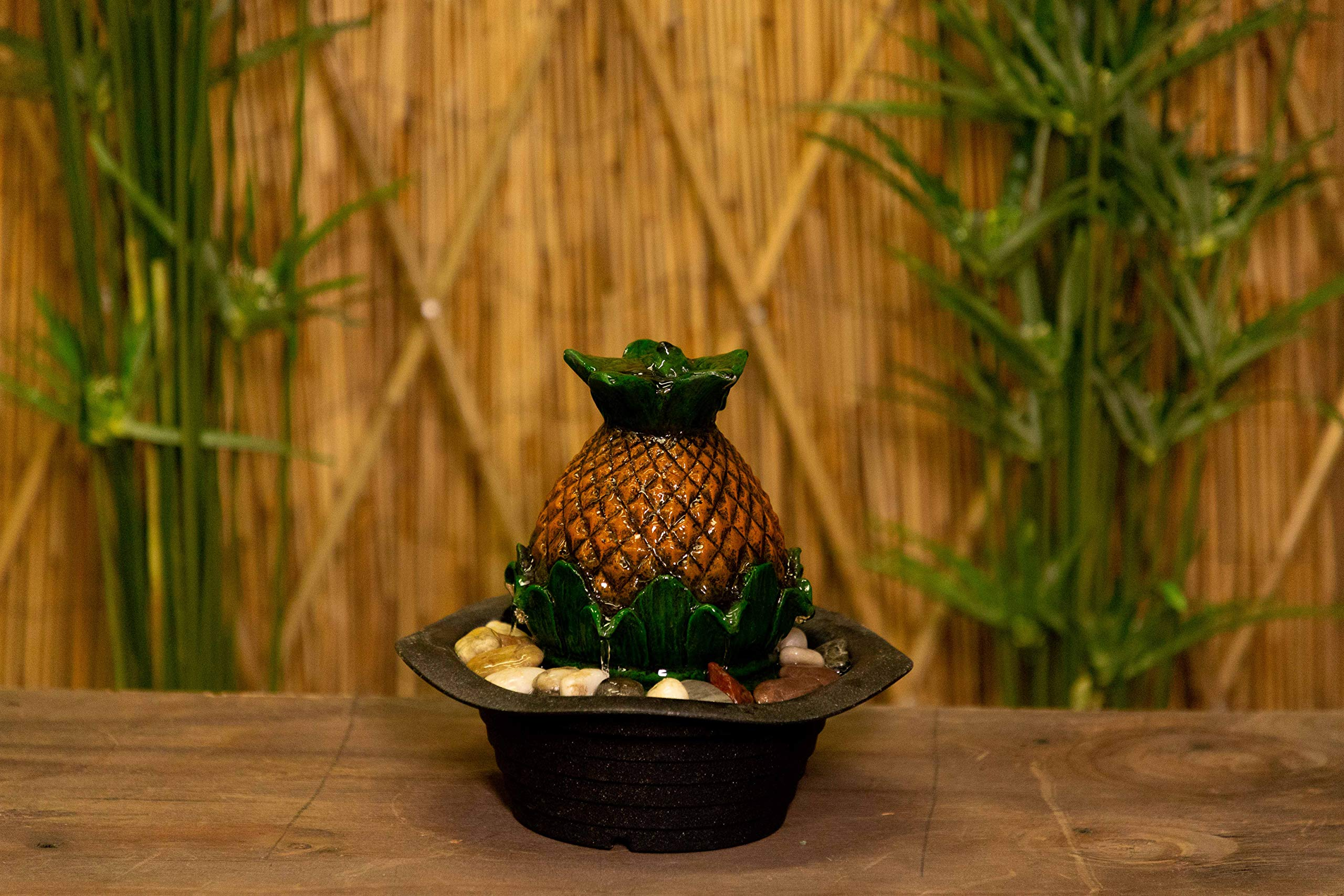Alpine Corporation GIL1626 Tropical Pineapple Tabletop Tranquility Fountain w/Stones, 8 Inch Tall, Brown