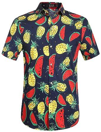 839686aa7 SSLR Men's Fruits Button Down Casual Short Sleeve Tropical Hawaiian Shirt  (XX-Large,