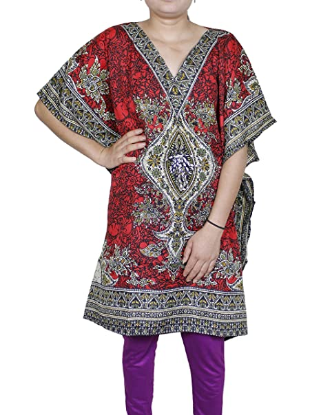 250936e8d4a4b Women Tunic Bohemian Floral Kaftan Short Indian Caftan Plus Size Beach Wear  Large Red  Amazon.ca  Clothing   Accessories