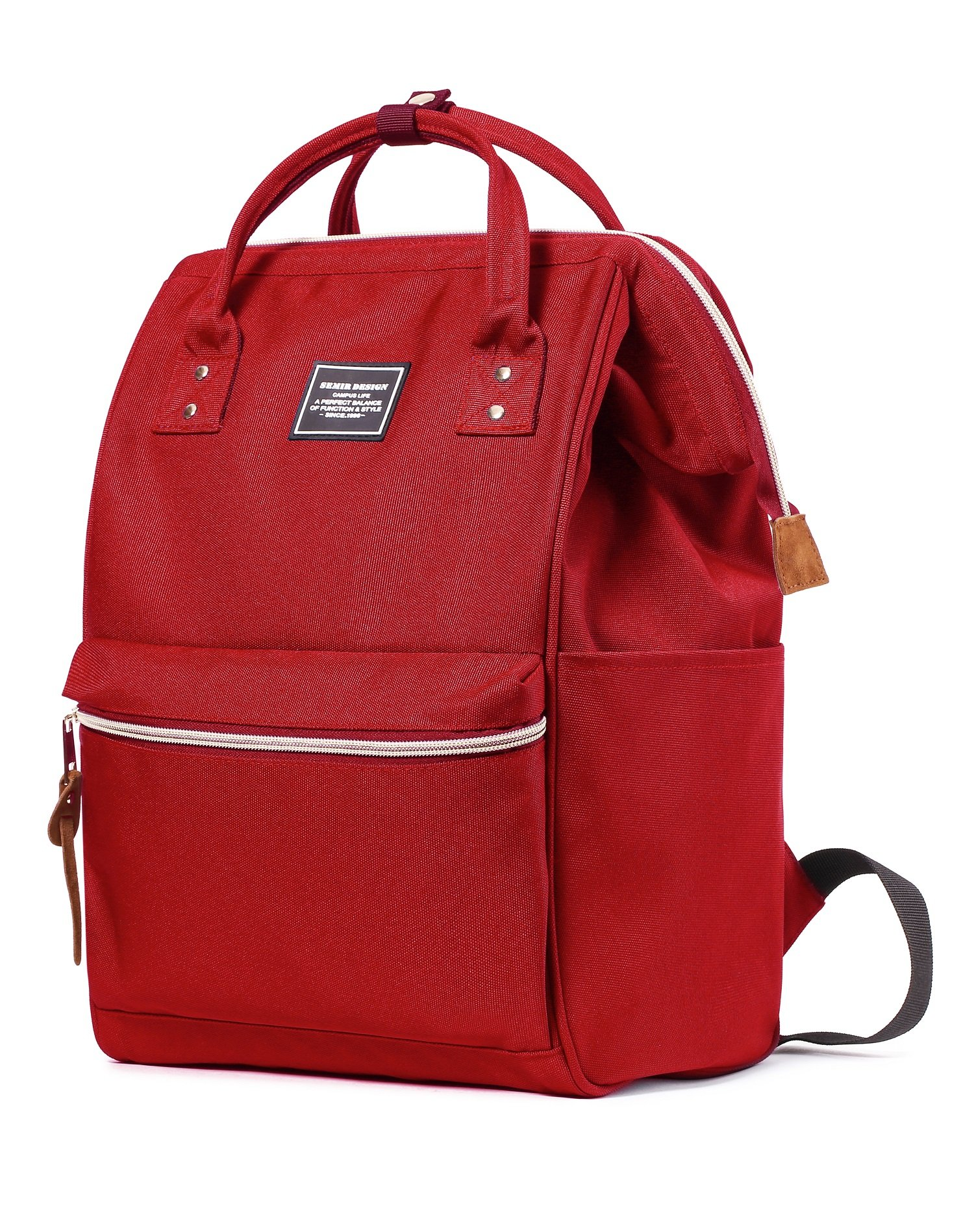 SEMIR Baby Backpack Diaper Bag Tote Fashionable Wide Open Designer Large Mummy Portable Travel Book Backpack with Stroller Straps for Mom Red