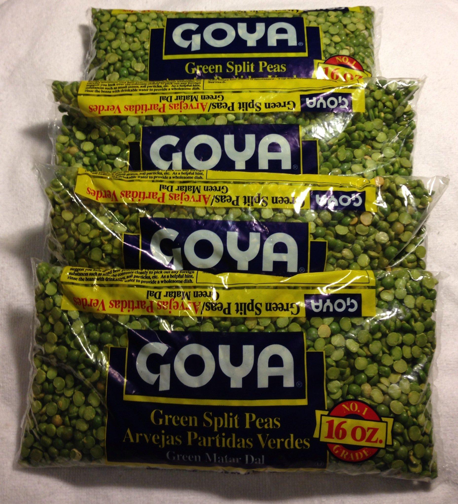Goya Beans Green Split Peas, Dry, 4 - 1 Lb Bags (4 Pack) Dried - Great for Split Pea Soup