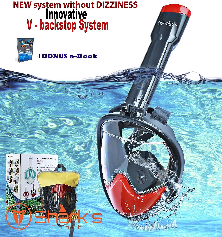 サメの歯 シュノーケルマスク フルフェイス - 簡単通気性 - 1800パノラマシービュー - 水泳マスク - 革新的なVバックストップ技術 - スキューバマスク - 漏れ防止&曇り止め B07JMBCD6W