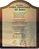 Golden Anniversary 50 Loving Years Touching 5x7 Poem with Full Color Graphics - Professionally Printed onto Chromaluxe Arch Panel with Easel Back