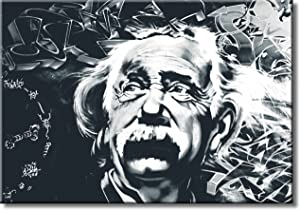 Einstein Black and White Picture on Stretched Canvas, Wall Art Décor, Ready to Hang