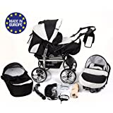 3-in-1 Travel System with Baby Pram, Car Seat, Pushchair & Accessories, Black & White
