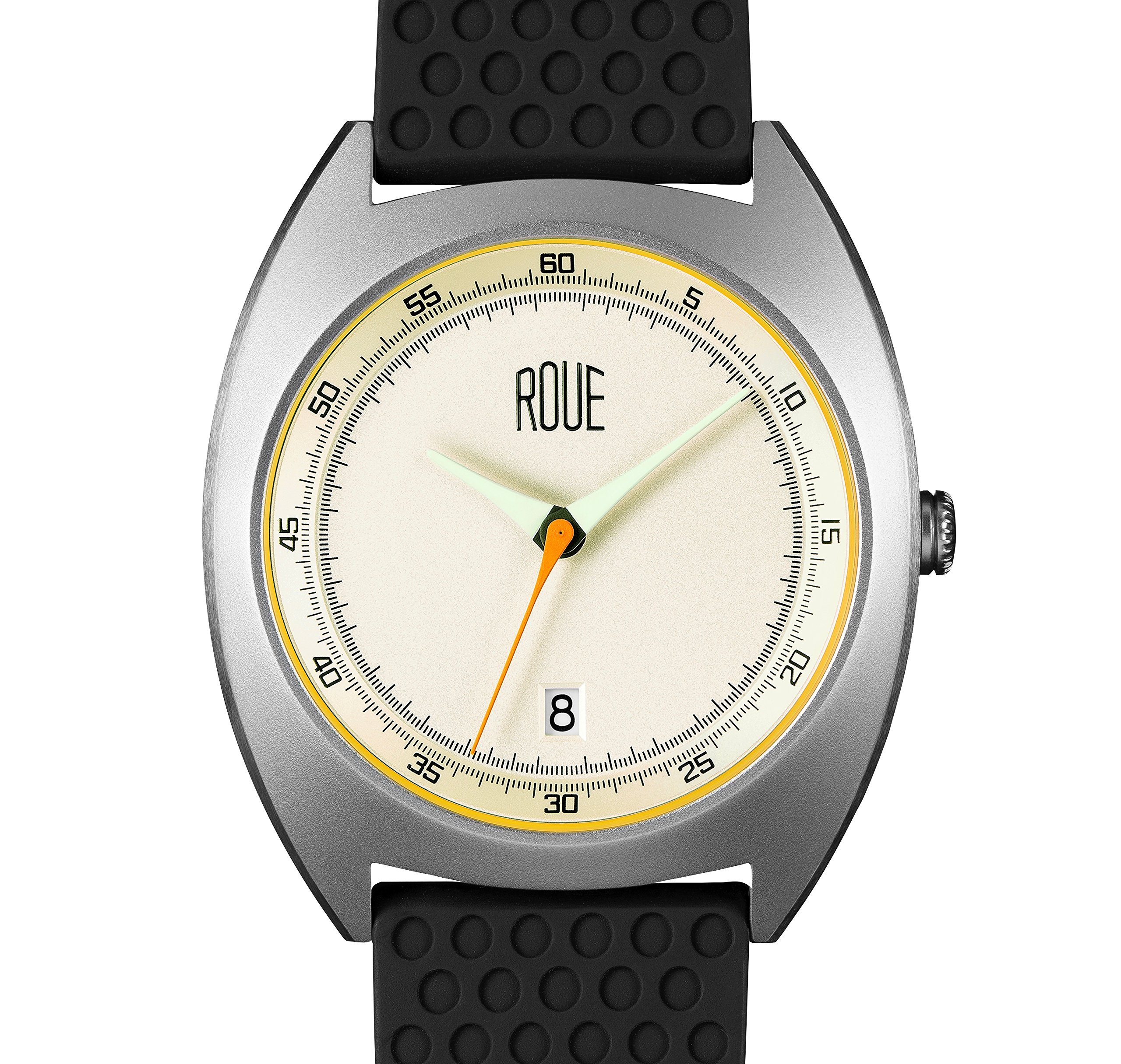 ROUE CAL One Watch, 1930s Racing Style, 41.5mm sand Blasted Stainless Steel case, Silicone + Nylon front/leather back, Sapphire Crystal with anti-reflective treatment glass