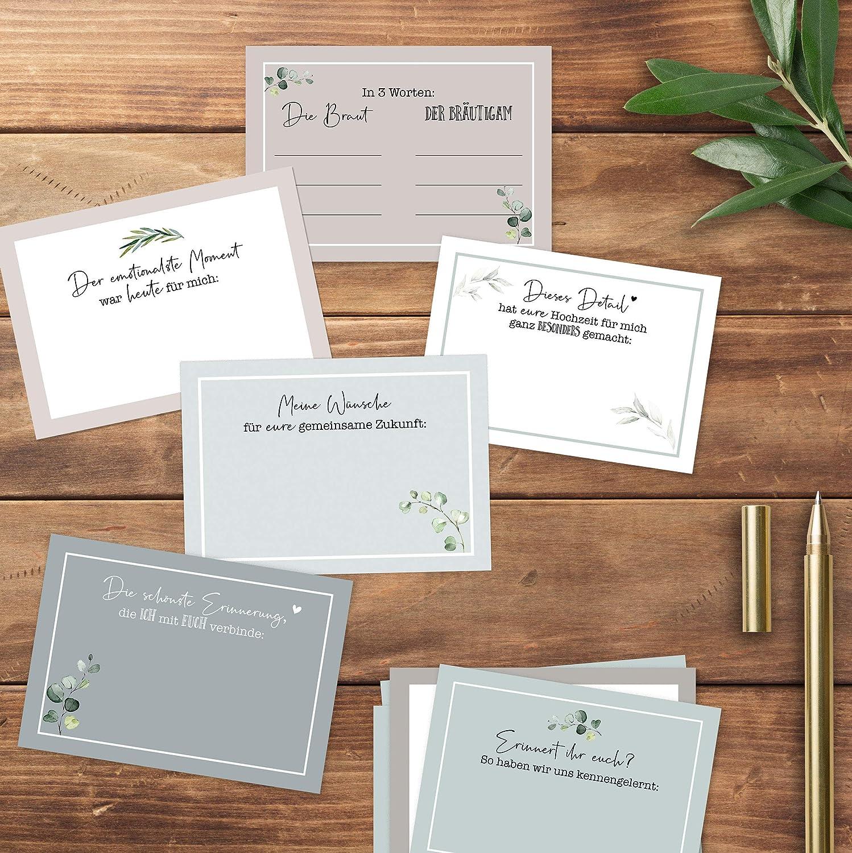 Hochzeit-G\u00e4stebuch-Karten F\u00fcr immer und ewig mit Fragen zum Ausf\u00fcllen als PDF zum Selbstdruck