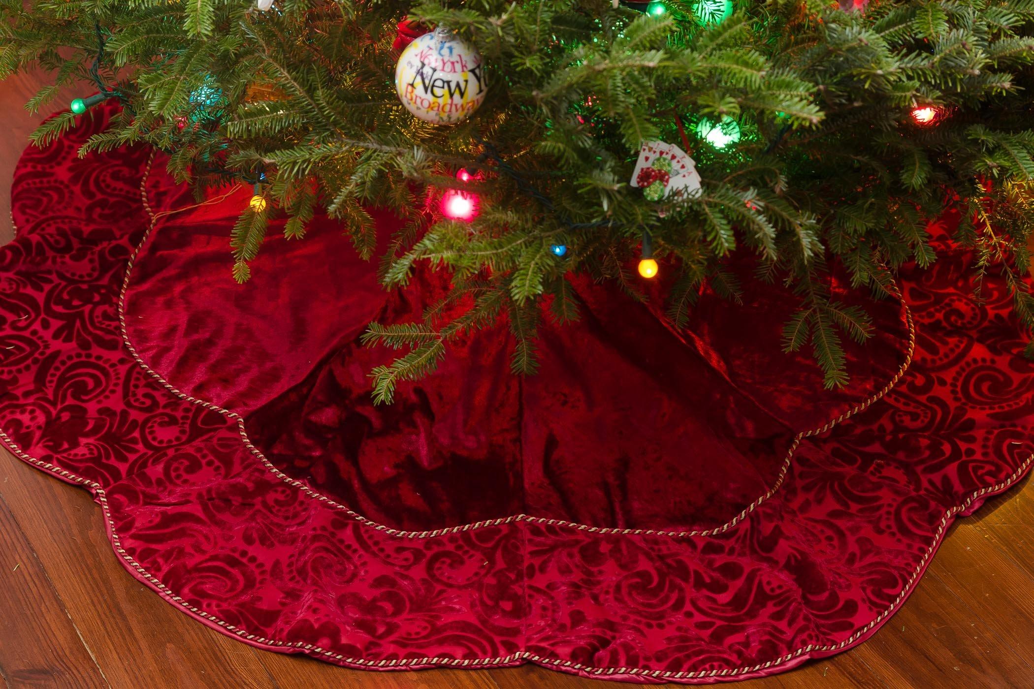Silk Velvet Damask -- Handmade Red Silk Velvet Scalloped Victorian Traditional Classic High-End Decorative Christmas Tree Skirt. 54'' Across. (54'' Diameter)