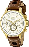 """Invicta Men's 16011 S1 """"Rally"""" 18k Gold Ion-Plated Watch with Brown Leather Strap"""