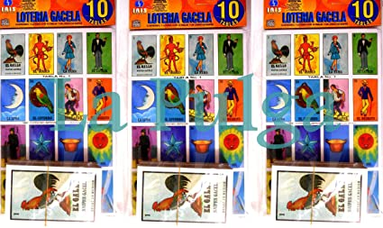 Amazon.com: 3 Sets - Loteria Mexican Bingo Card Game (10 ...