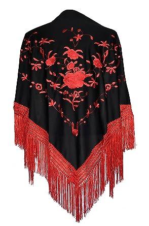 La Se/ñorita Foulard cintura chale manton de manila Flamenco di danza nero oro frangia oro Large