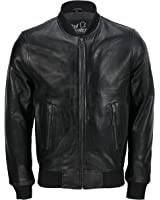 d571af3c3920 Mens Black Soft Real Leather Vintage Classic Bomber Style Biker Jacket All  Sizes