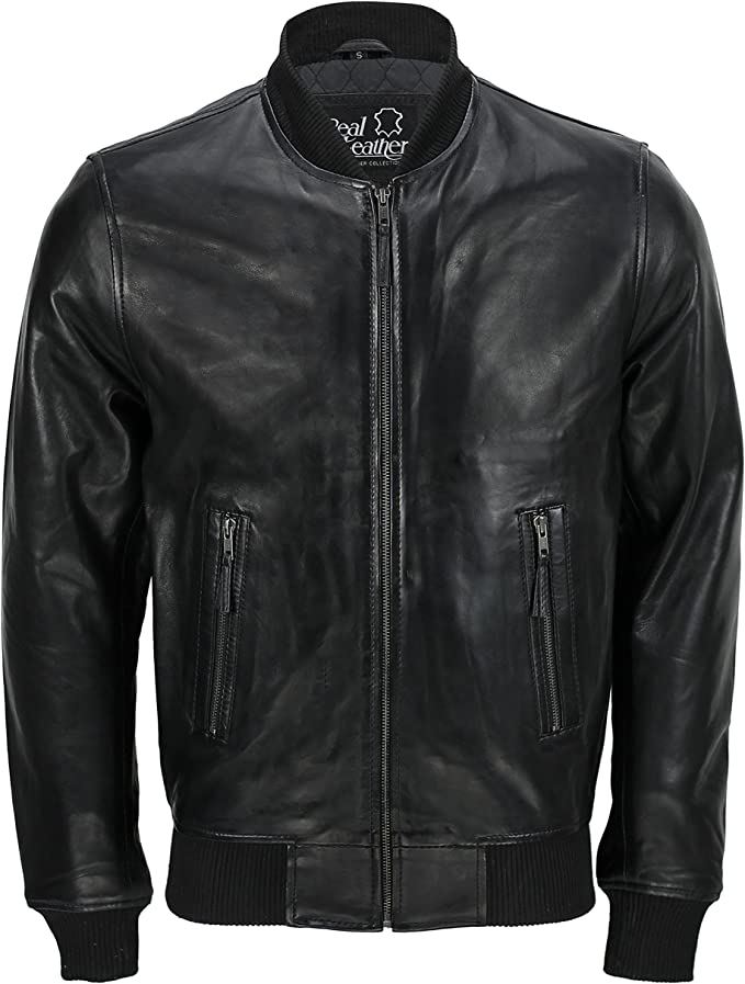 Mens Leather Jacket Classical Style Zipped Biker Soft Genuine Leather Black
