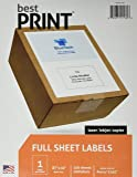 "Full Sheet - Best Print Address Labels - 8-1/2"" x 11"" (Same size as 5165), 100 Labels"