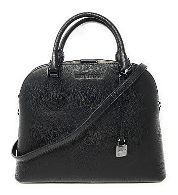 0cf4d891c42f Michael Kors Adele Large Dome Leather Satchel Handbag (Black ...