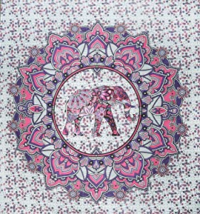 Jaipuri Handloom Crafts JHC's Pink and Purple Elephant Mandala Tapestry Wall Hanging Dorm Decor Large Size Indian Cotton Psychedelic Hippie Flower Tapestry Bohemian Mandala Tapestry