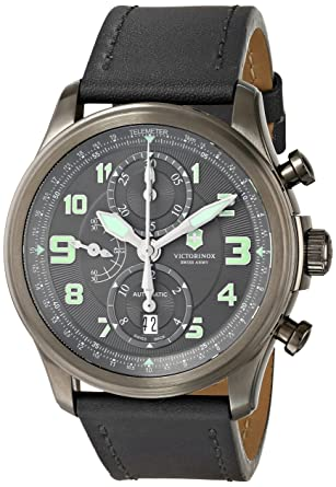 b3206ac70a2 Image Unavailable. Image not available for. Color  Victorinox Men s 241526   quot Infantry quot  Stainless Steel Automatic Watch with Grey Leather Band