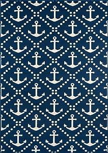 "Momeni Rugs Baja Collection Contemporary Indoor Outdoor Area Rug, 5'3"" x 7'6"", Navy Blue"