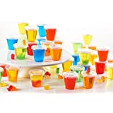 Toasted Drinkware Squeezable Plastic Clear 2 oz Jello Shot Glasses with Lids (200 Sets) Shaped Like Actual Shot Glasses!