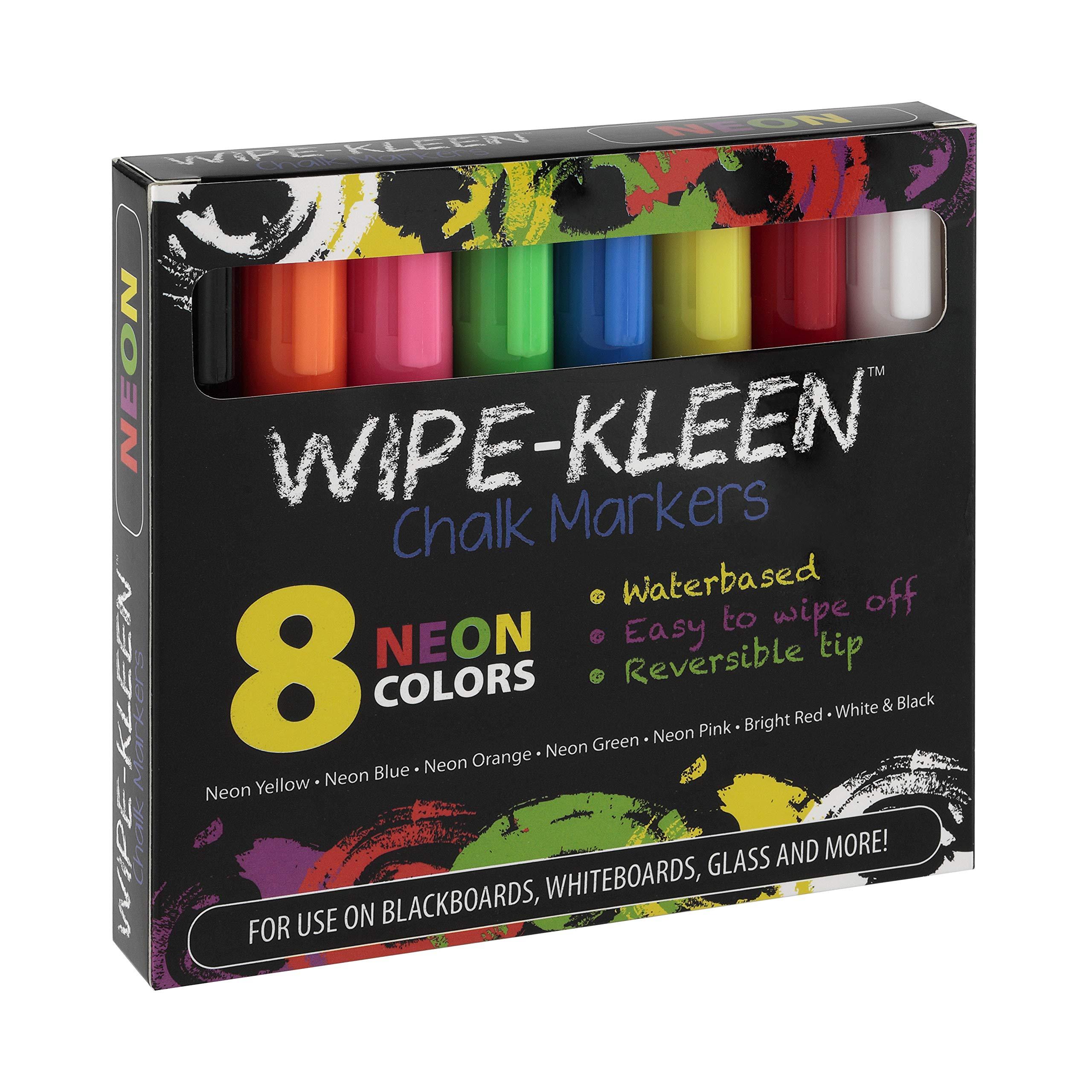 Wipe-Kleen Liquid Chalk Board Window Markers Set - Set of 8 Erasable Pens for Chalkboard Non Toxic NEON Set of 8 by Creative Mark