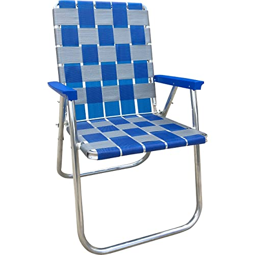 Lawn Chair USA Folding Aluminum Webbing Chair Classic, Blue Silver