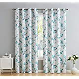 HLC.ME Jasmine Floral Faux Silk 100% Blackout Room Darkening Thermal Insulated Curtain Grommet Panels - Energy Efficient…