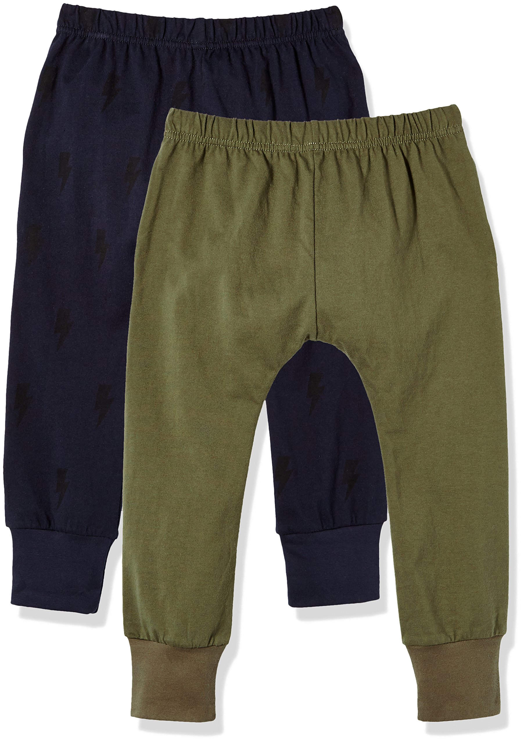 Kid Nation Kids' 2 Pack Cotton Beach Pant for Boys or Girls XS Olive + Grey Blue by Kid Nation (Image #2)