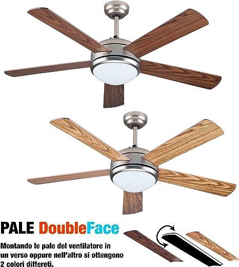 Ventilateur de plafond avec lumière et télécommande 5 pales Double face Marron clairfoncé Diamètre 132 cm 3 vitesses avec rotation réversible