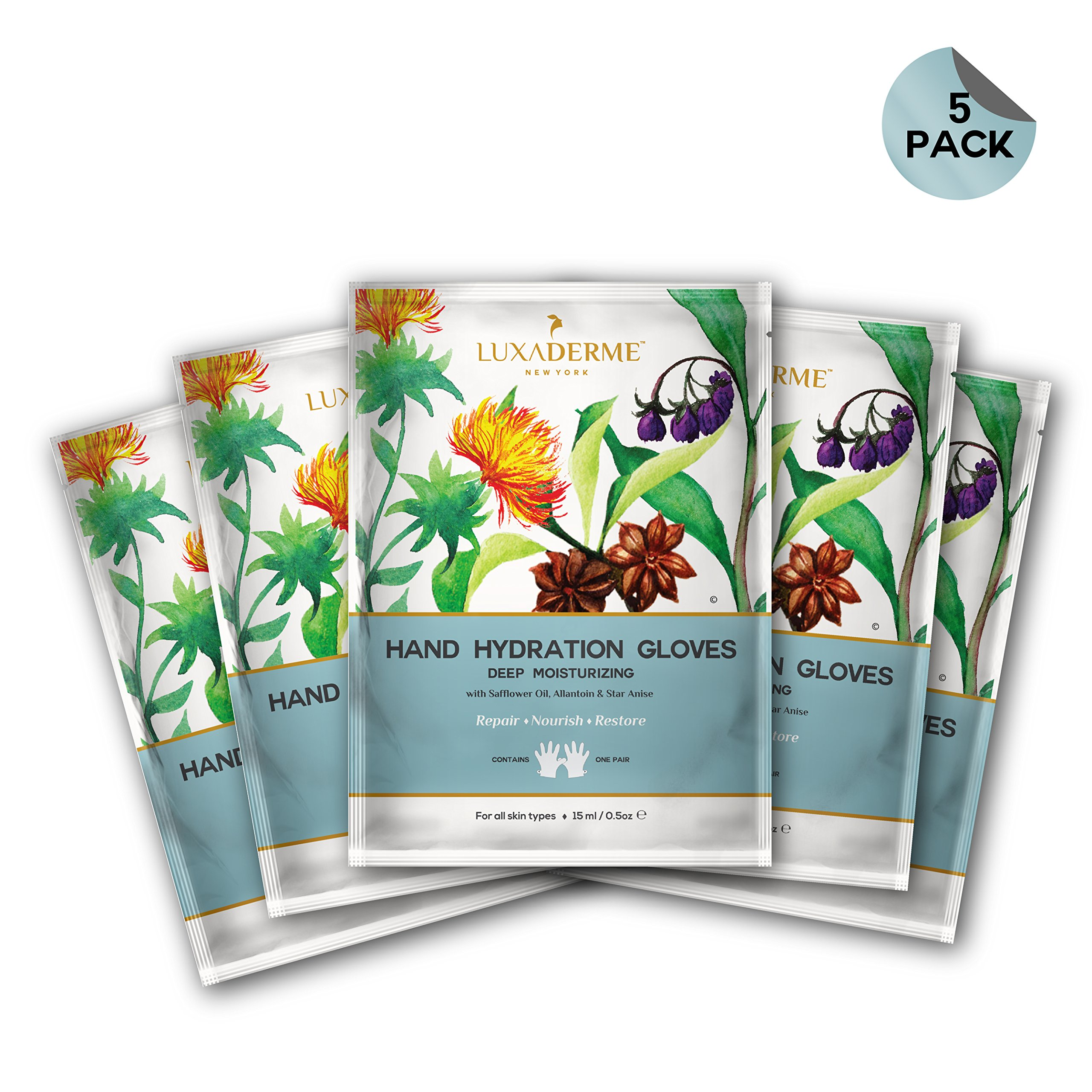 LuxaDerme Deep Moisturizing - Hand Hydration Gloves (Pack Of 5) Infused With Essence Containing Safflower Seed Oil, Allantoin, Botanical Extracts & Anti-Oxidants For Soft, Smooth & Supple Hands