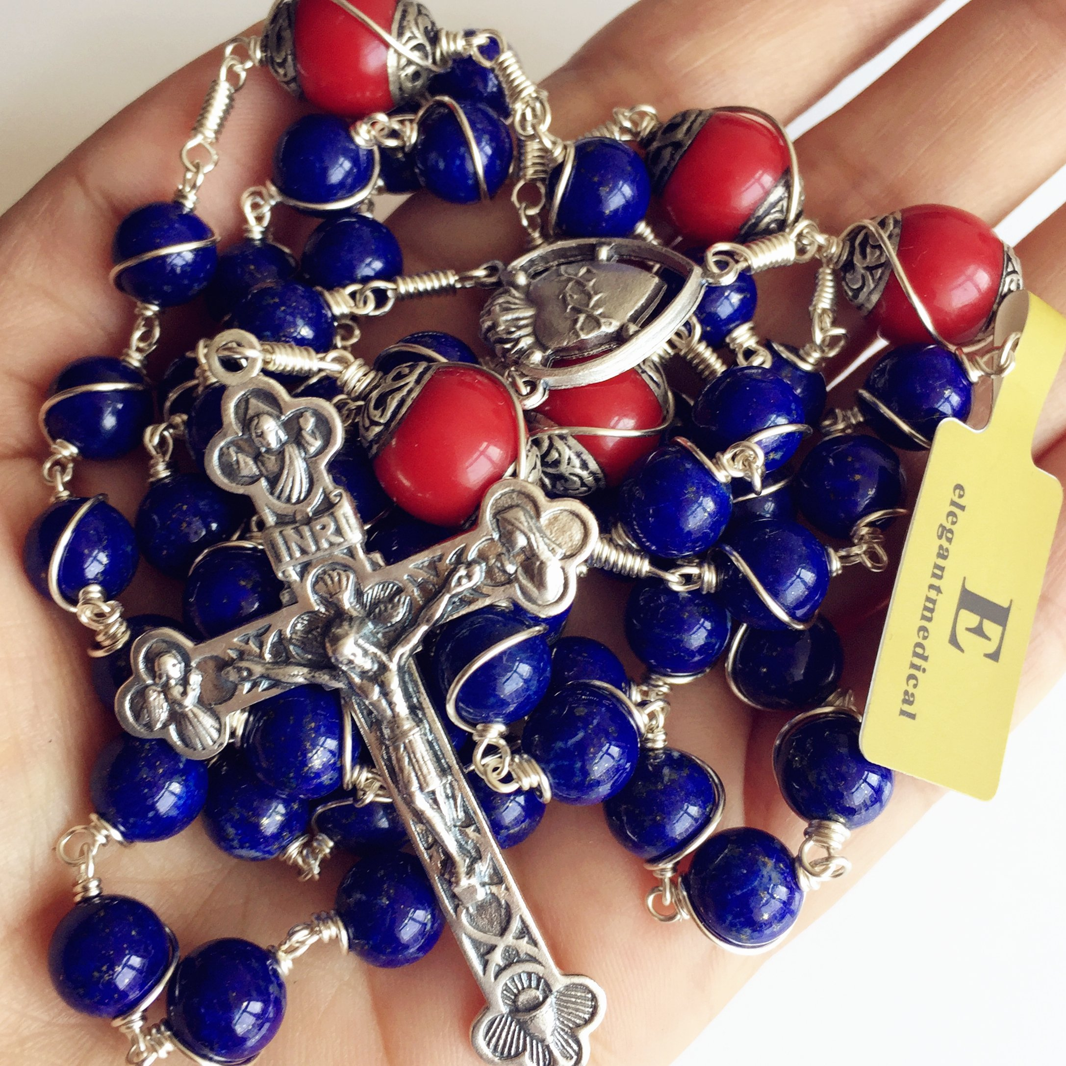 Handmade Sterling 925 Silver Lapis Lazuli Beads Rosary Cross Crucifix Catholic Necklace Gifts by elegantmedical (Image #5)