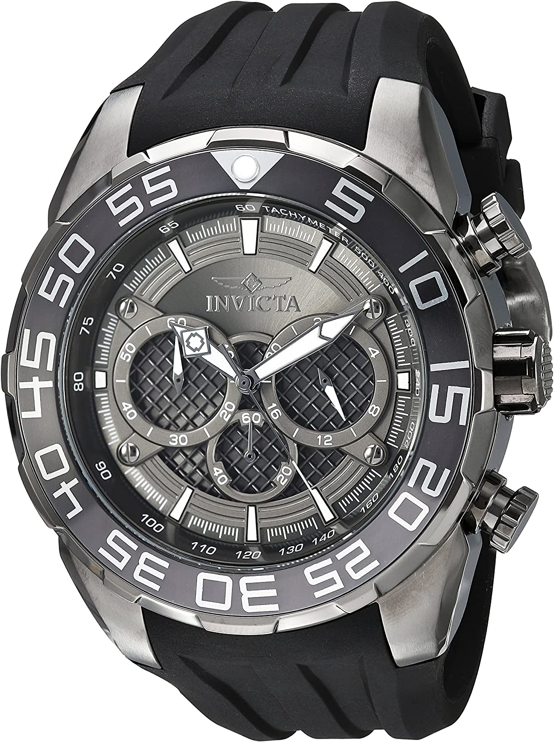 Invicta Men s Speedway Stainless Steel Quartz Watch with Silicone Strap, Black, 30 Model 26308