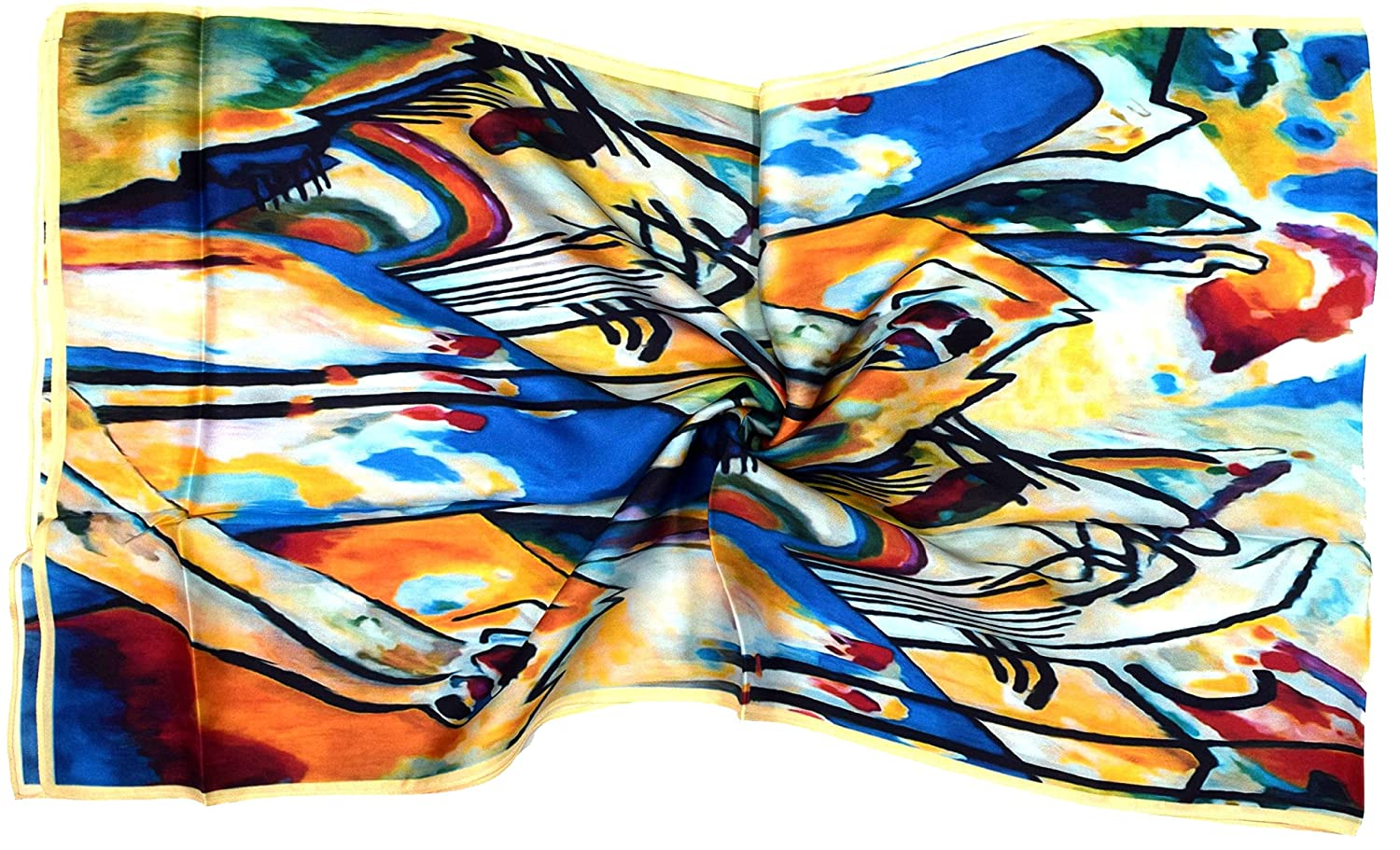 Bright Blue Yellow Abstract Print Long Silk Scarf