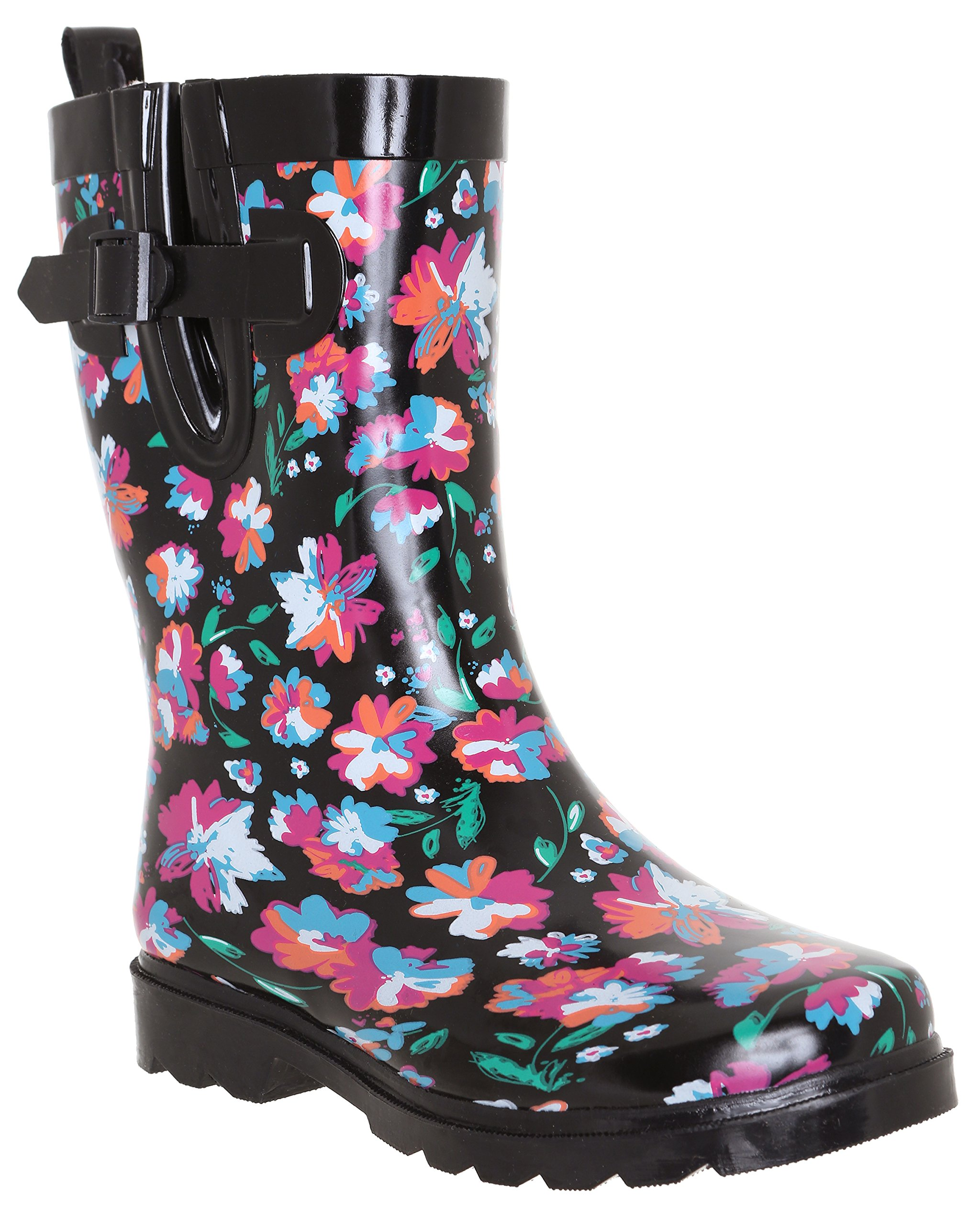 Capelli New York Ladies Bright Floral Printed Mid- Calf Rain Boot Black Combo 8