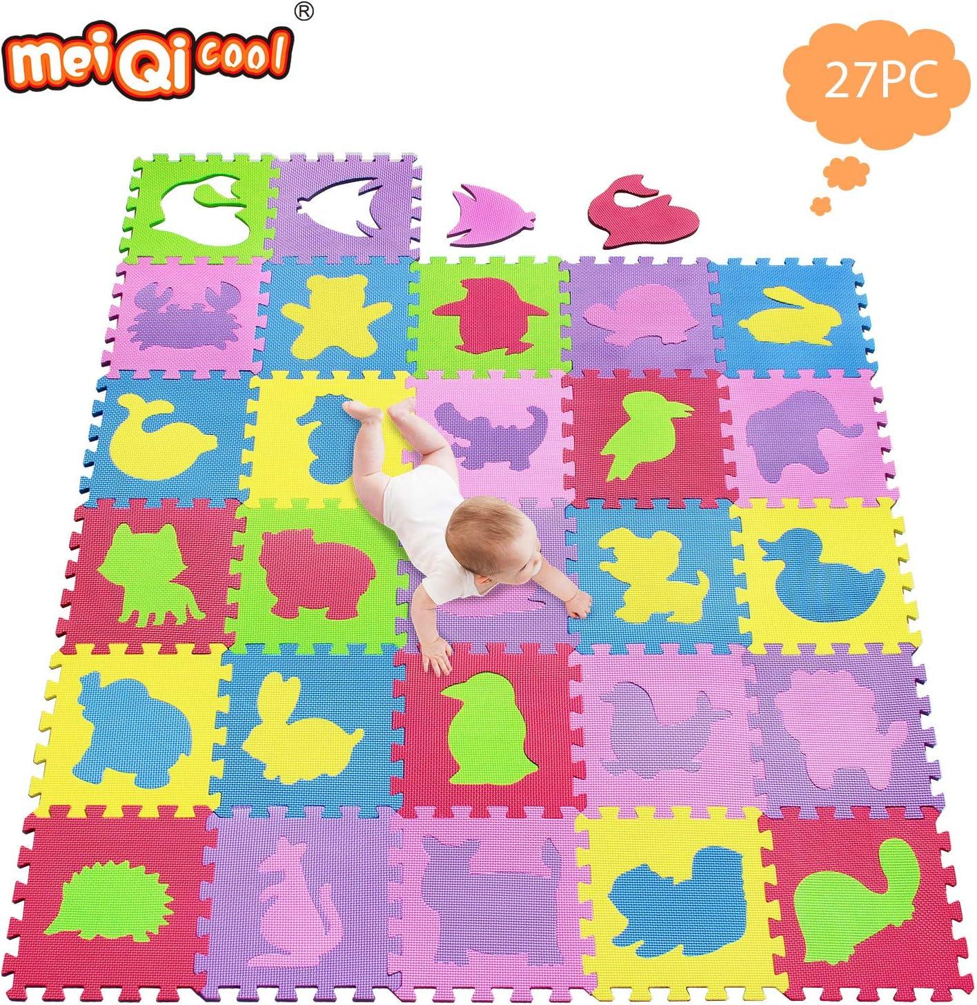meiqicool Tapis Puzzle Animaux Kids Soft Eva Mousse Multicolore Jigsaw Puzzle Activit/é Jeu dinterverrouillage des Carreaux De Plancher par 142 x 114cm 5354
