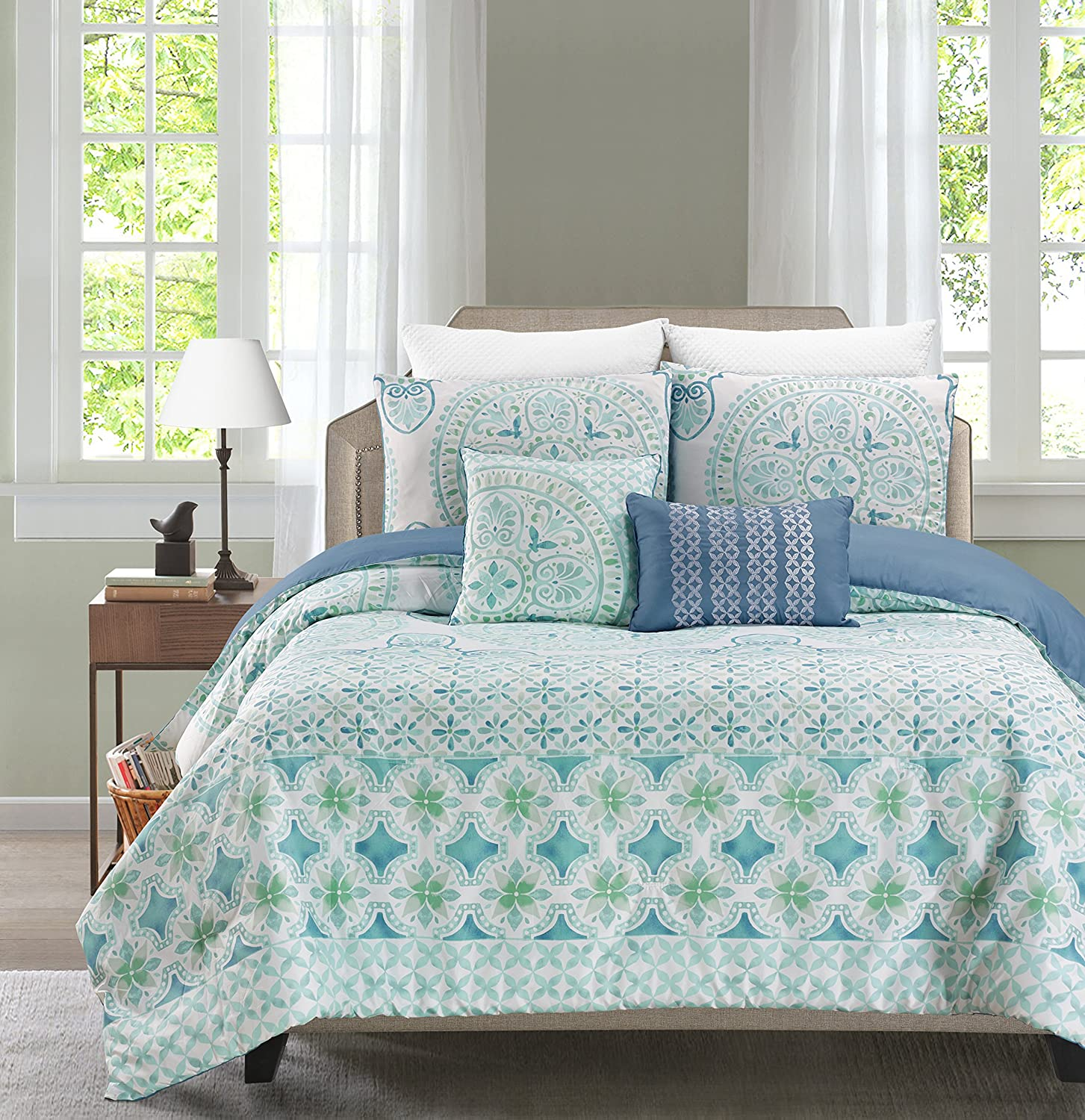 Printed 4-5 Piece Comforter Set Including 2 Decorative Pillows and Sham(s) By Blissful Living – Down Alternative, Brushed Microfiber for a Soft & Luxurious Feel (Verusha Aquamarie, Full / Queen)