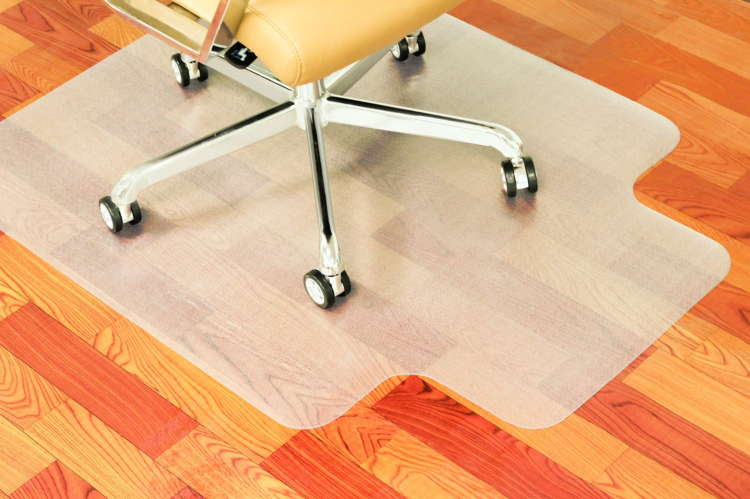SOUNDANCE Office Chair Mat for Hard Floor, 36 x 48 Inch with Lip, Thick Hard Smooth Heavy Duty Sturdy, PC Under Desk Chair Pad Protector for Hardwood Floor Computer Gaming Rolling Chair