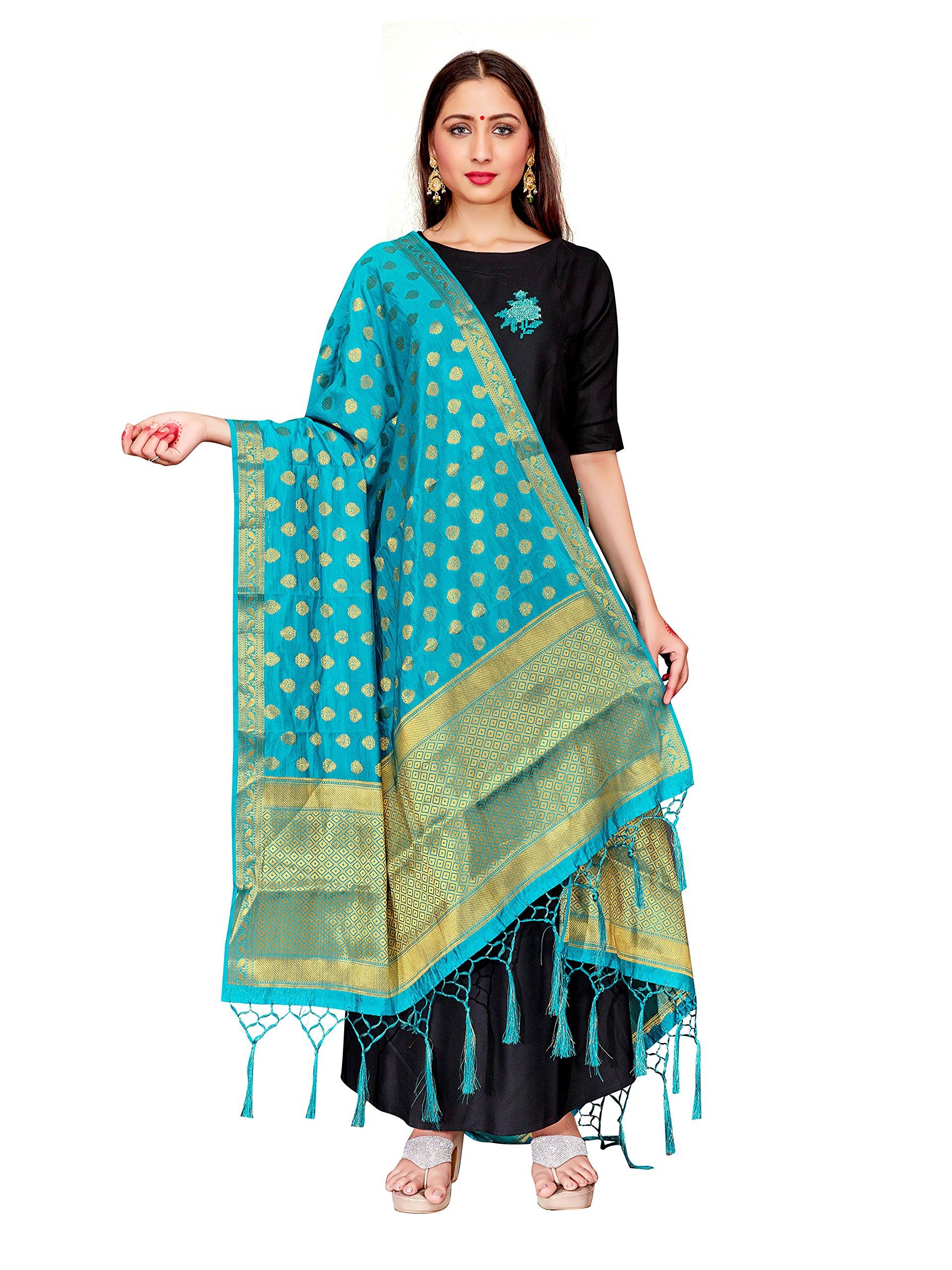 ELINA FASHION Women's Zari Work Indian Banarasi Art Silk Woven Only Dupatta for Dress Material & Salwar Suit (Turquoise)