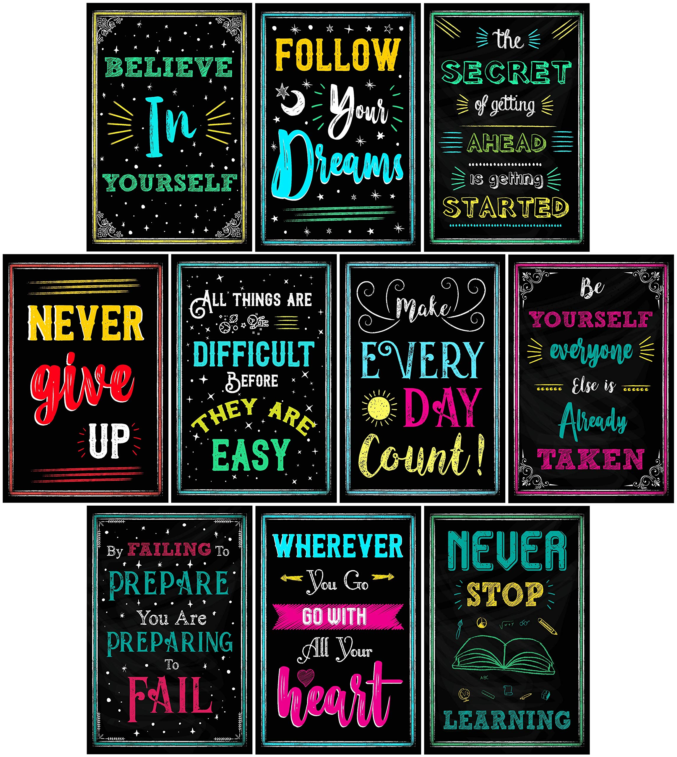 Motivational Posters for Classroom & Office Decorations | Inspirational Quote Wall Art for Teachers, Students, School Counselors, Home & Office | Set of 10 Creative Chalkboard Designs (Set Two) by L & O Goods