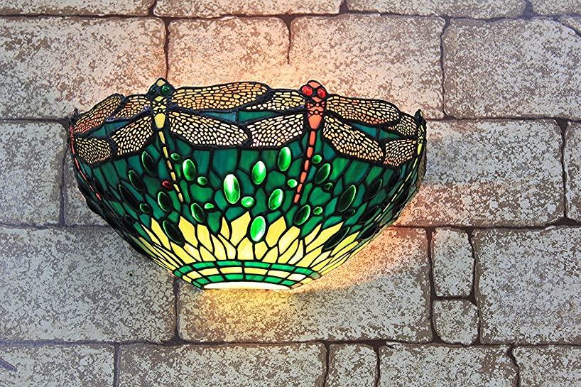 Gweat 13-inch Vintage Pastoral Stained Glass Tiffany Dragonfly Wall Lamp Hallway Wall Sconce Lamp Fixture