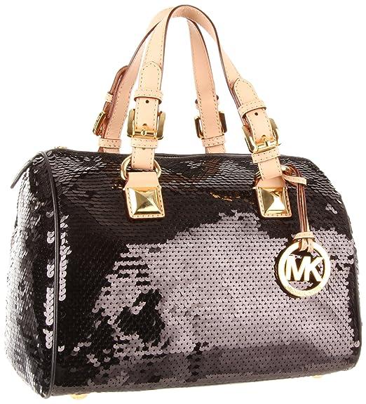 amazon com michael michael kors grayson sequins satchel black one rh amazon com