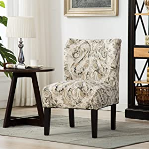 Roundhill Furniture Capa Print Fabric Armless Contemporary Accent Chair, Paisley