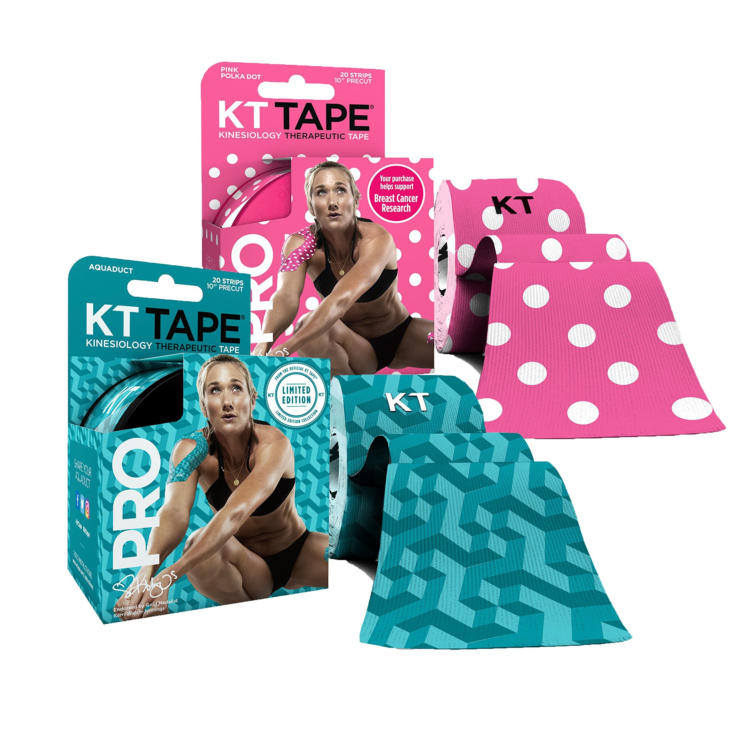 KT Tape PRO Precut 40-Strip Synthetic Kinesiology Tape Two-Roll Bundle - AQUADUCT & Pink Polka Dots
