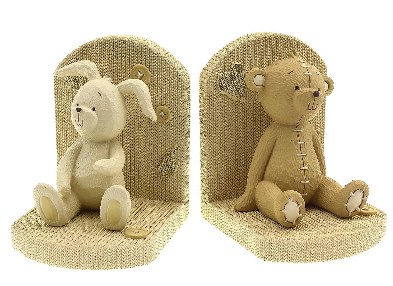 Button Corner Baby Resin Bookends Teddy Bear & Rabbit CG710