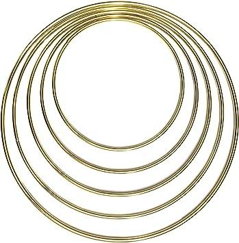 5,6,7,8,9 Dream Catcher Metal Rings Set of 5pcs Gold Dream Catcher Metal Hoops, Bistore Assorted Gold