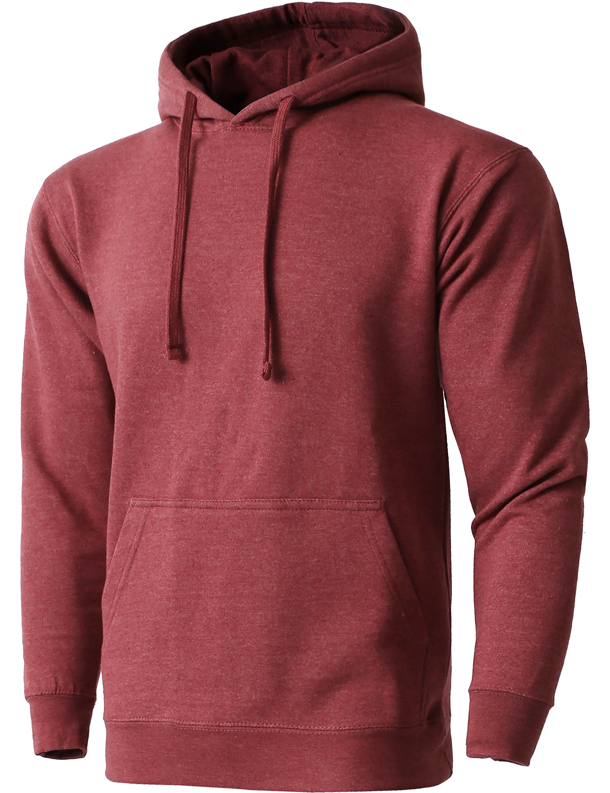 Hat and Beyond HC Mens Pullover Hoodie Sweatshirts Heavyweight Fleece Active Casual Pocket Jackets (Ma19_heaburgnd, Large)