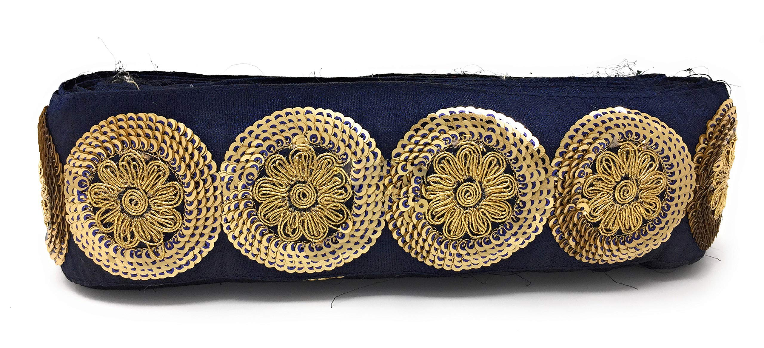 Inhika 9 Yard lace Border Trim for Women Saree Dupatta Navy Blue Colour Gold, Pearl Gold, Blue Embroidery, Sequins, Cotton Mix Material Medium Width at 7 cm Wide by Inhika